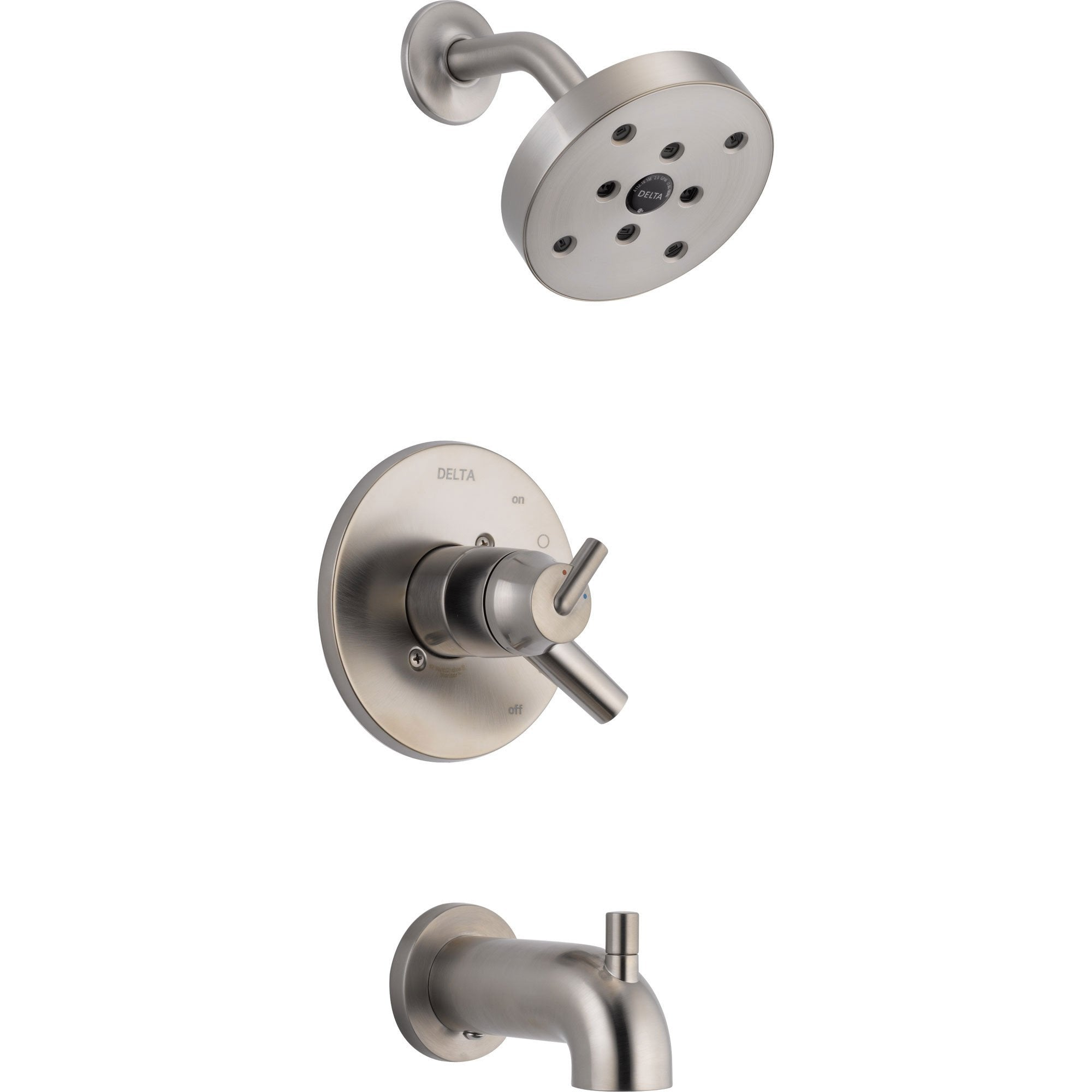 Delta Trinsic Stainless Steel Finish Modern Tub & Shower Combo with Valve D396V