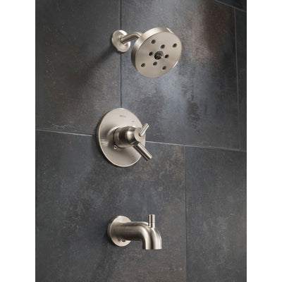 Delta Trinsic Stainless Steel Finish Modern Tub and Shower Combo Trim Kit 601712