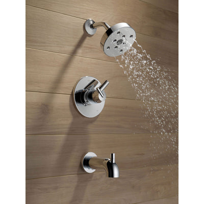Delta Trinsic Chrome Dual Control Modern Tub and Shower Faucet with Valve D393V