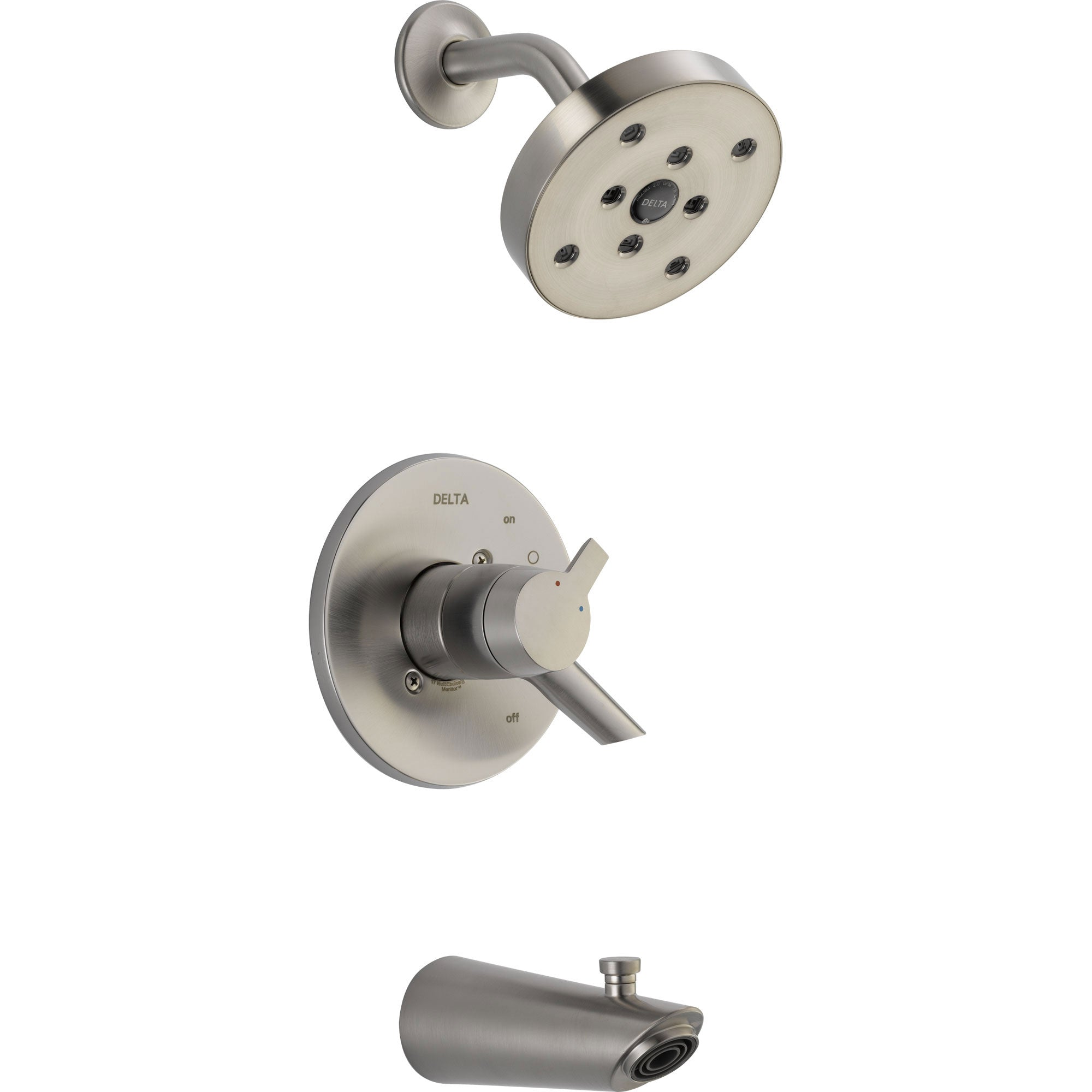 Delta Compel Stainless Steel Finish Modern Tub and Shower Combo Trim Kit 584052