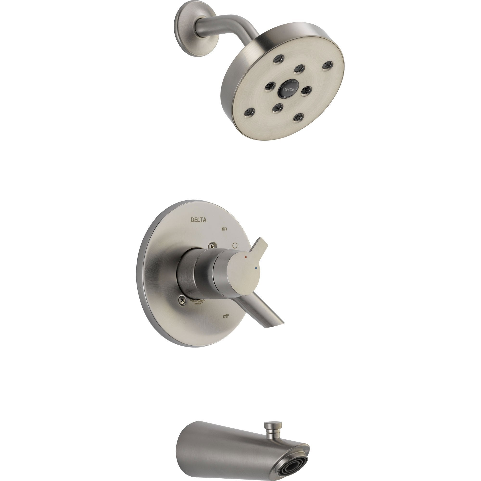 Delta Compel Stainless Steel Finish Modern Tub & Shower Combo with Valve D398V