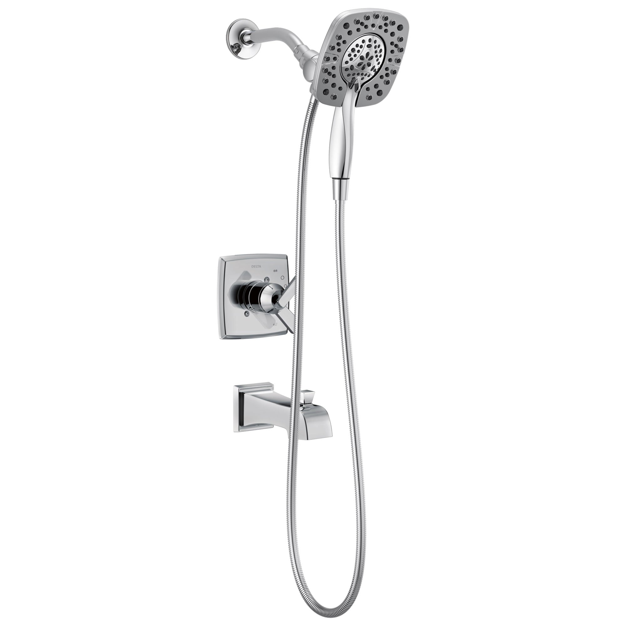Delta Ashlyn Chrome Finish Monitor 17 Series Tub and Shower Combo Faucet with In2ition Two-in-One Hand Shower Spray INCLUDES Rough-in Valve D1122V