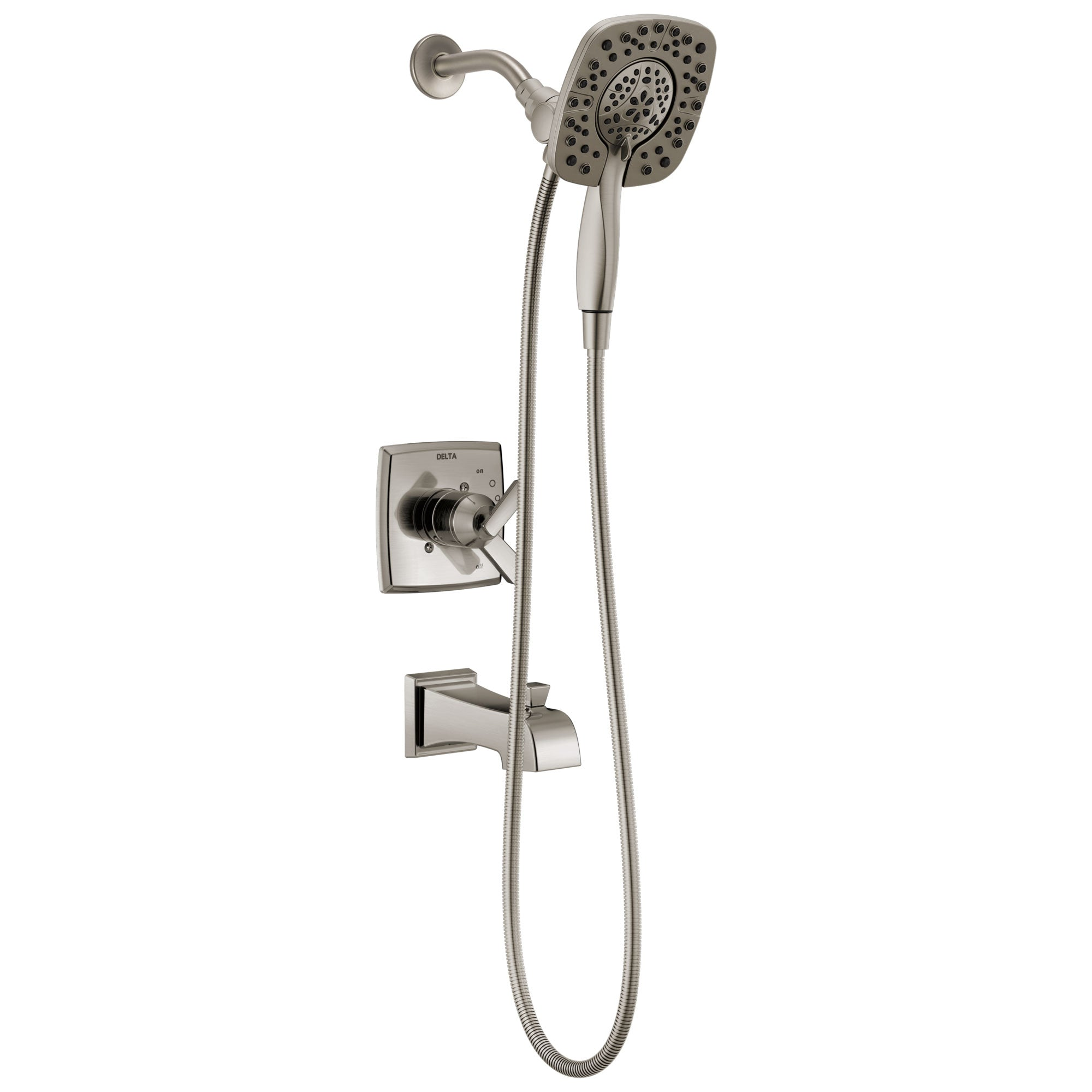 Delta Ashlyn Stainless Steel Finish Monitor 17 Series Tub and Shower Combo Faucet with In2ition Two-in-One Hand Shower Spray INCLUDES Rough-in Valve with Stops D1115V