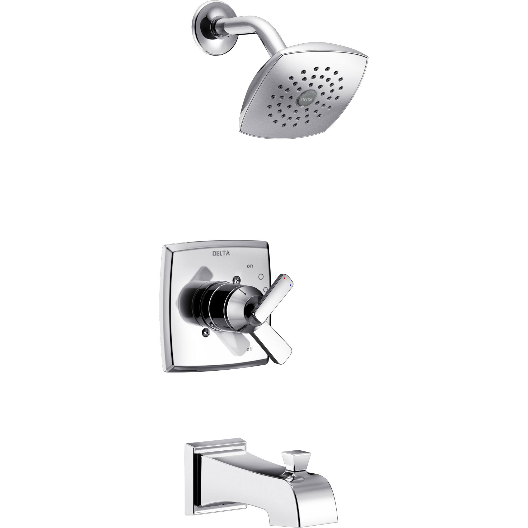 Delta Ashlyn Chrome Finish Monitor 17 Series Tub and Shower Combo Faucet with Dual Temperature and Pressure Control INCLUDES Rough-in Valve with Stops D1125V