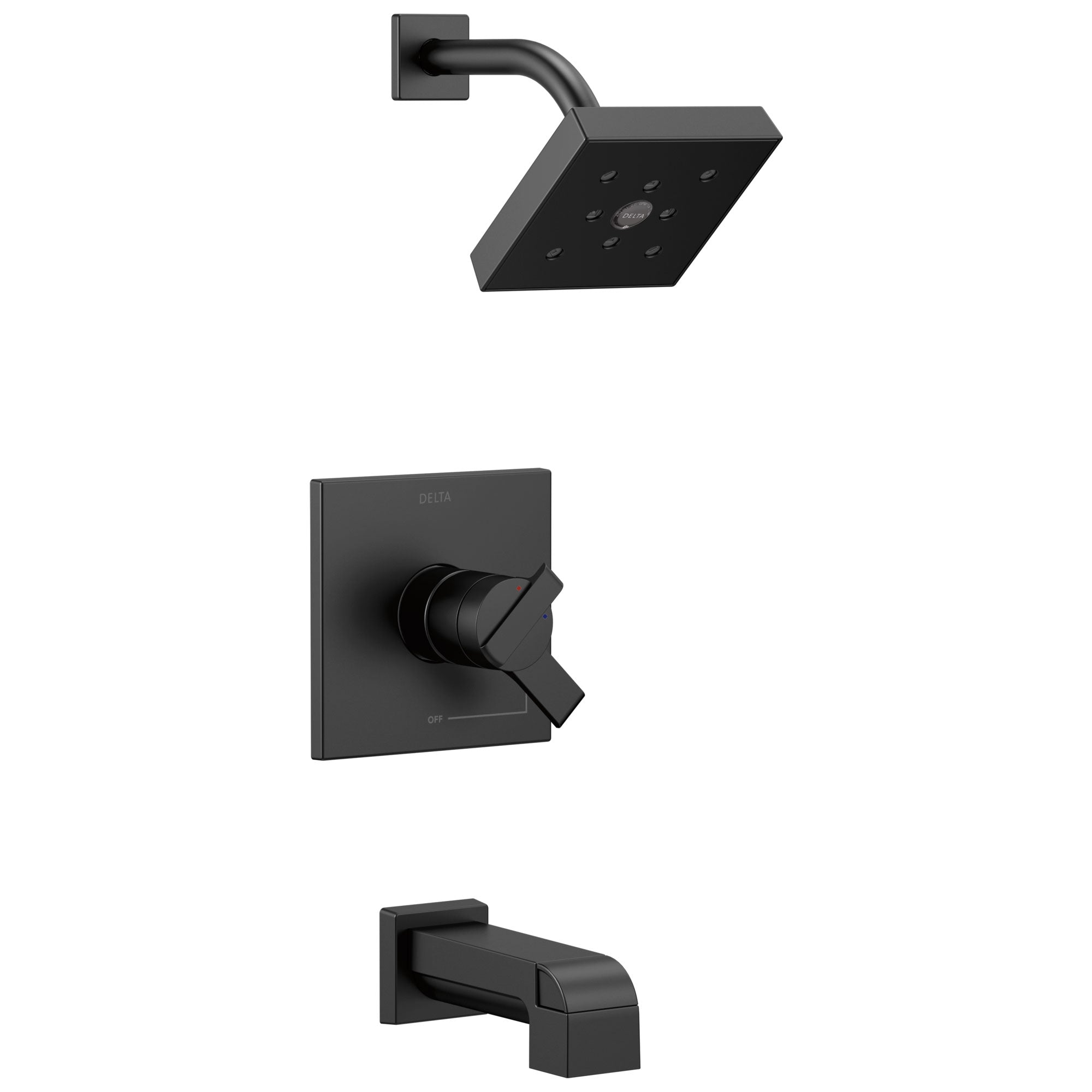 Delta Ara Collection Matte Black Finish Modern Temperature and Water Pressure Dual Control Tub & Shower Faucet Combo Includes Rough Valve with Stops D2296V