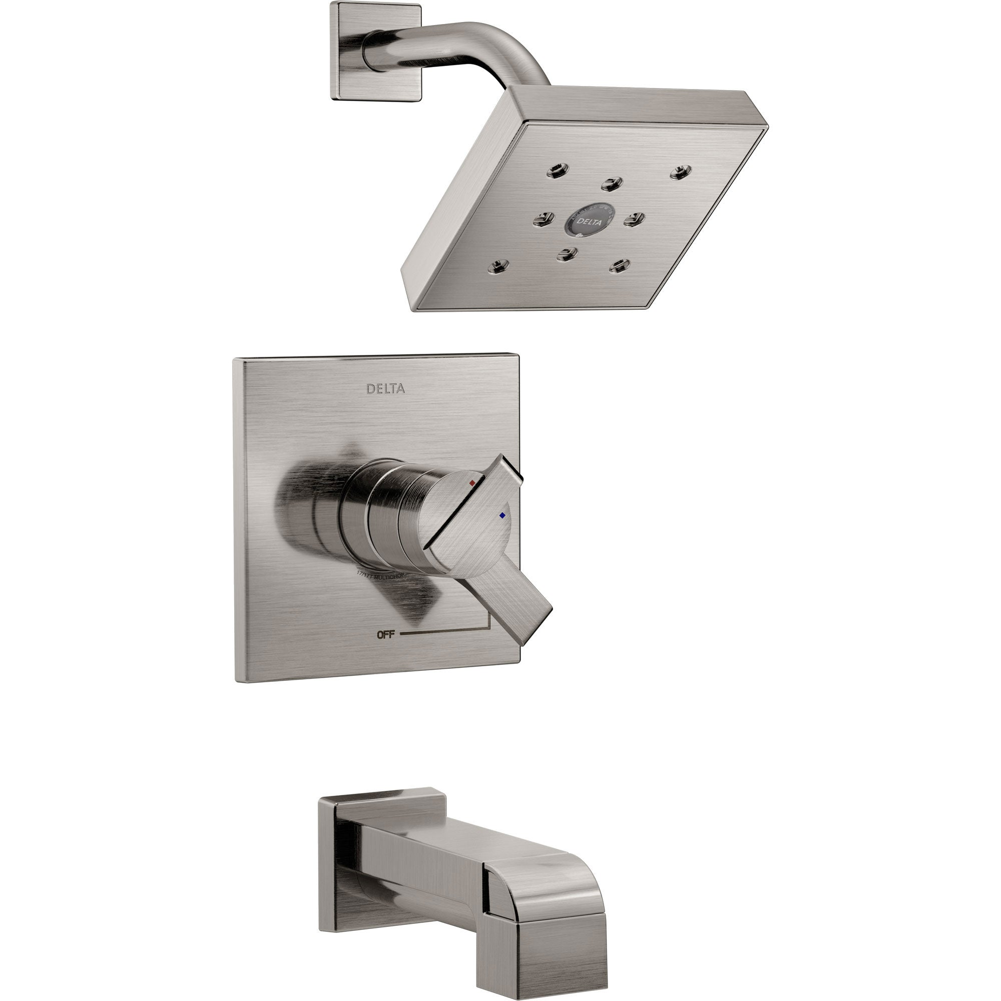 Delta Ara Modern Stainless Steel Finish H2Okinetic Tub and Shower Combination Faucet with Dual Temperature and Pressure Control INCLUDES Rough-in Valve with Stops D1113V
