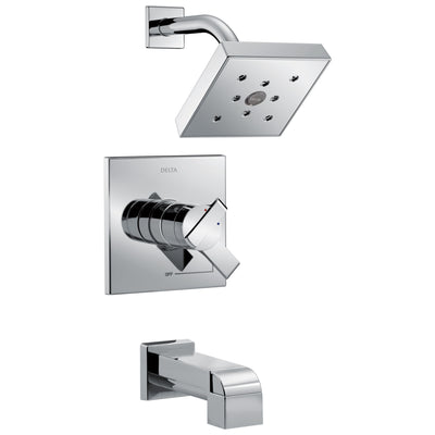 Delta Ara Collection Chrome Monitor 17 Modern Temperature and Pressure Dual Control Tub & Shower Faucet Combo Includes Rough Valve without Stops D2297V