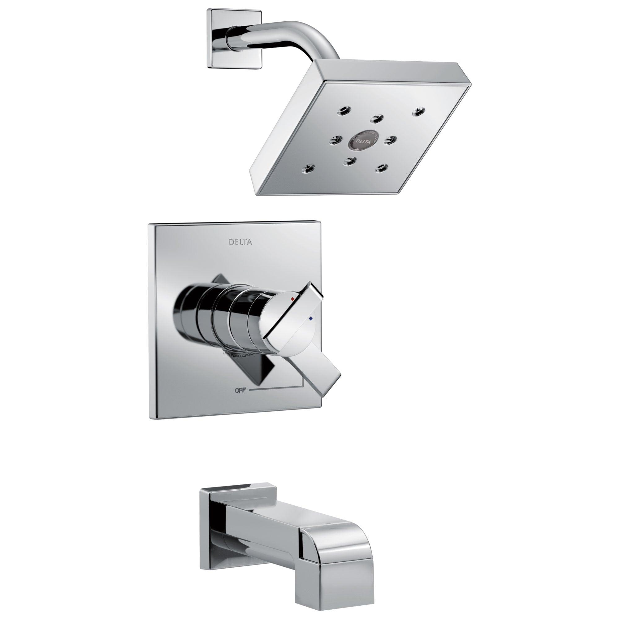 Delta Ara Collection Chrome Monitor 17 Modern Temperature and Pressure Dual Control Tub & Shower Faucet Combo Includes Rough Valve with Stops D2298V