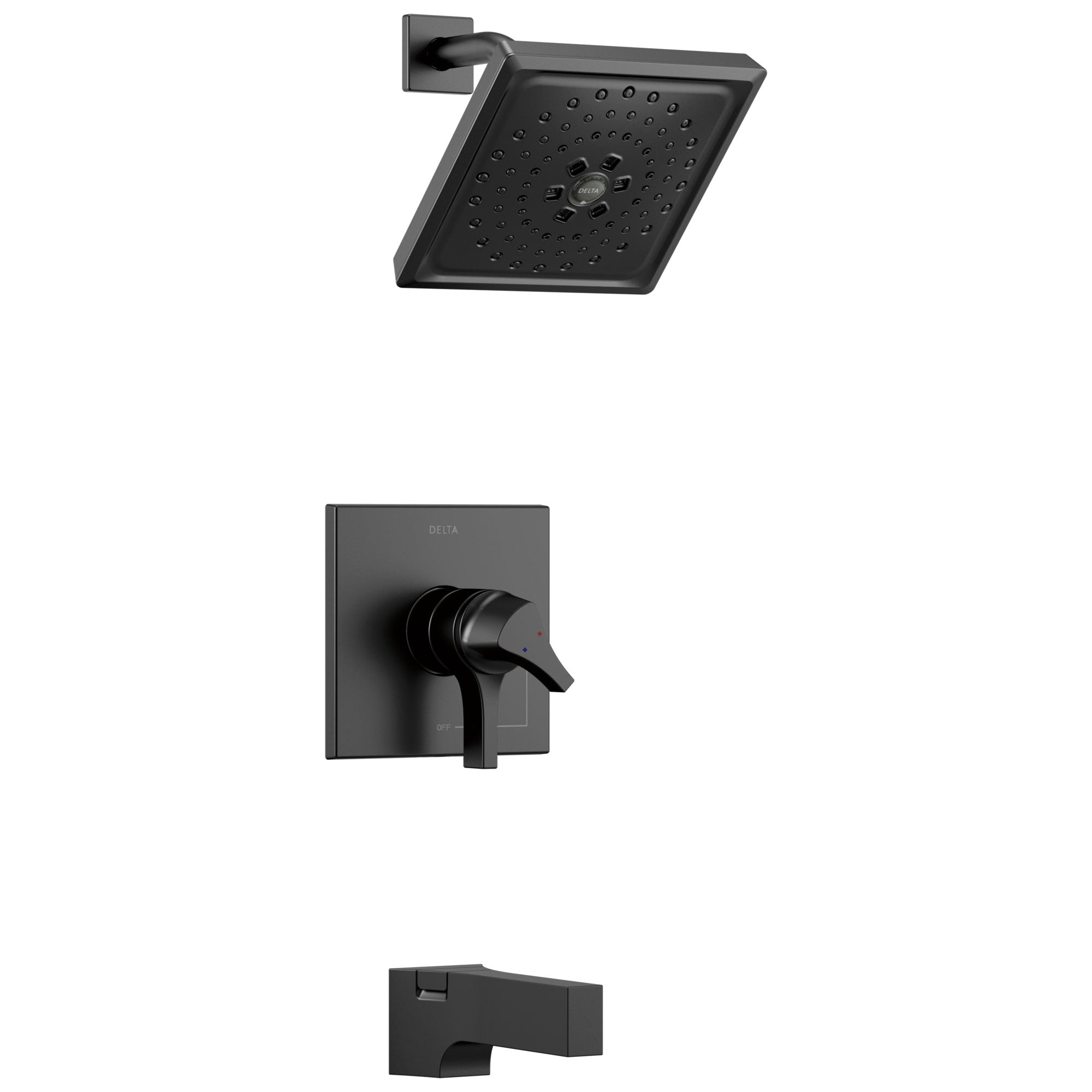 Delta Zura Matte Black Finish Monitor 17 Series H2Okinetic Tub and Shower Combination Faucet Trim Kit (Requires Valve) DT17474BL