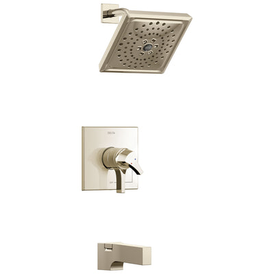 Delta Zura Collection Polished Nickel Dual Pressure and Temperature Control Handle Tub and Shower Combination Faucet Includes Rough-in Valve without Stops D1956V