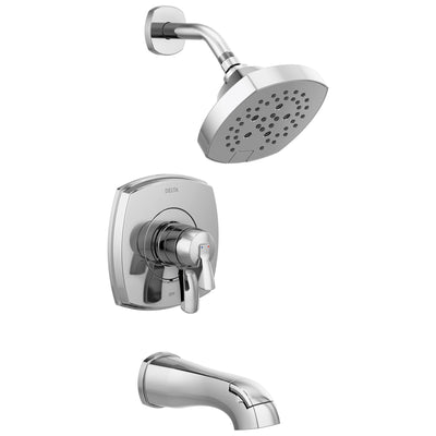 Delta Stryke Chrome Finish 17 Series Tub and Shower Combo Faucet Includes Handles, Cartridge, and Rough Valve without Stops D3335V