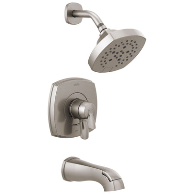 Delta Stryke Stainless Steel Finish 17 Series Tub and Shower Combo Faucet Includes Handles, Cartridge, and Rough Valve without Stops D3329V