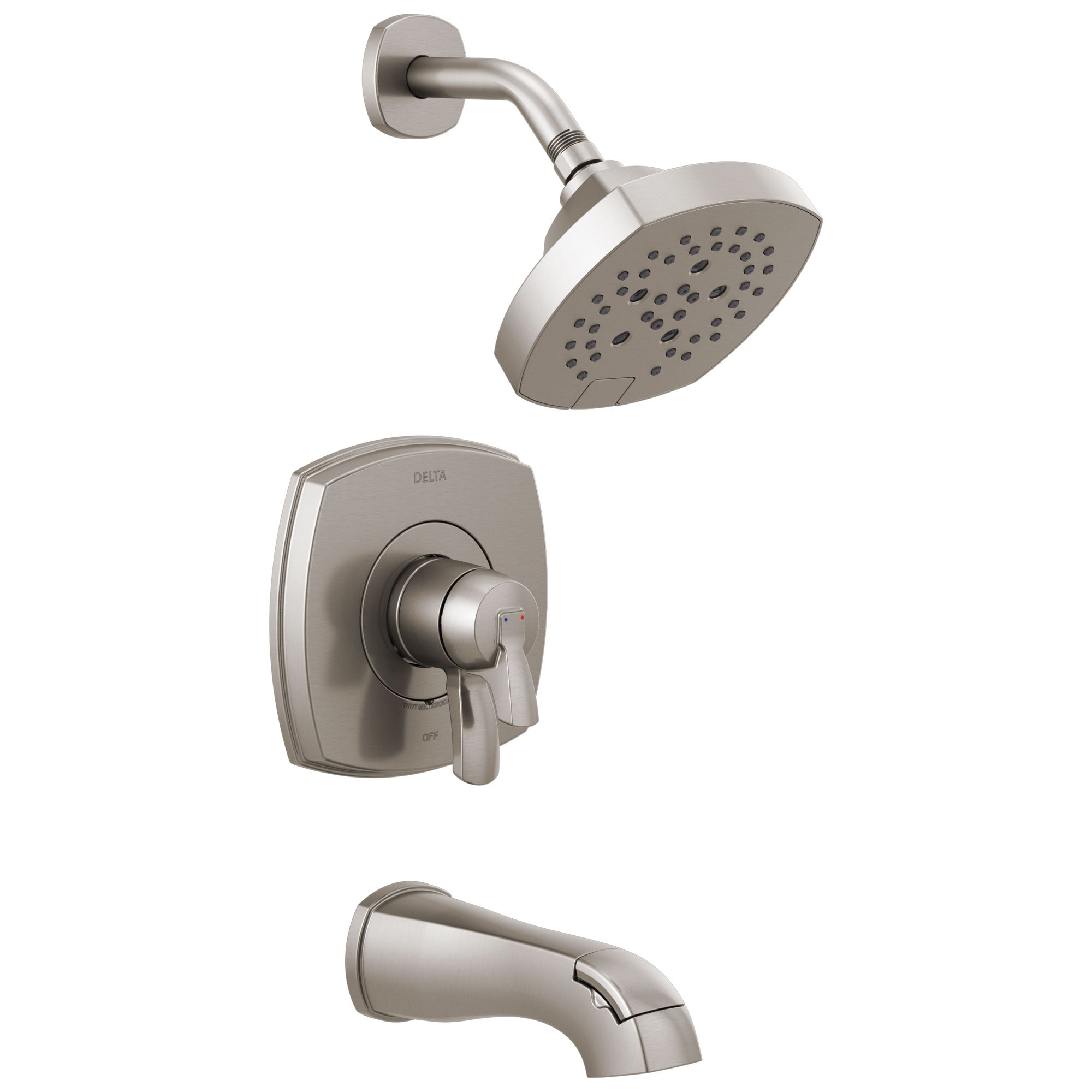 Delta Stryke Stainless Steel Finish 17 Series Tub and Shower Combo Faucet Includes Handles, Cartridge, and Rough Valve with Stops D3330V