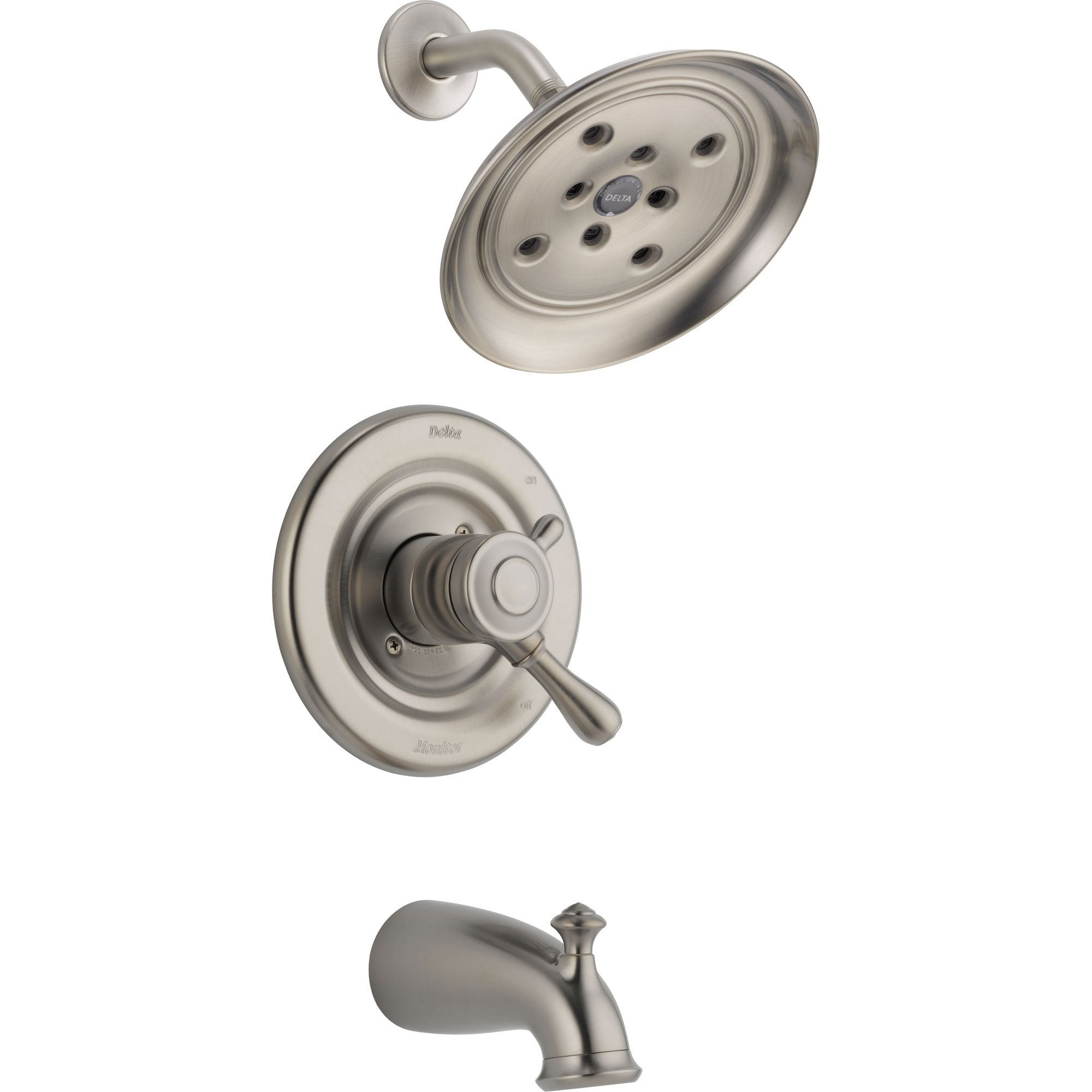 Delta Leland Stainless Steel Finish Dual Control Tub and Shower with Valve D404V