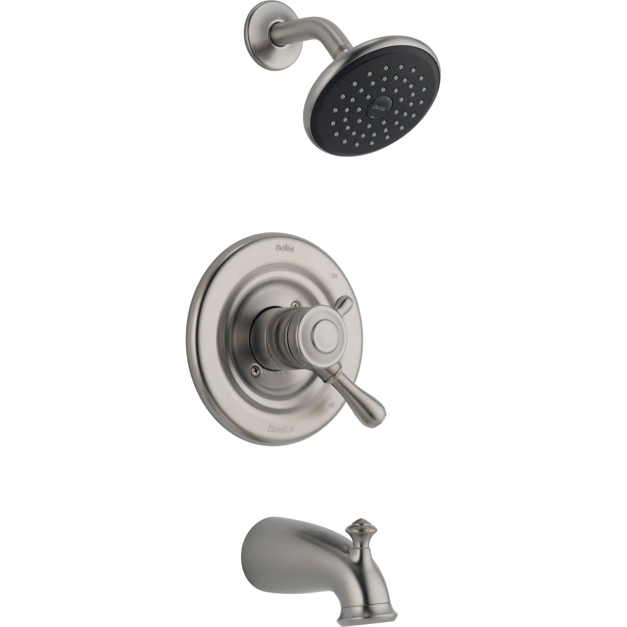 Delta Leland Stainless Steel Finish Dual Control Tub and Shower with Valve D470V