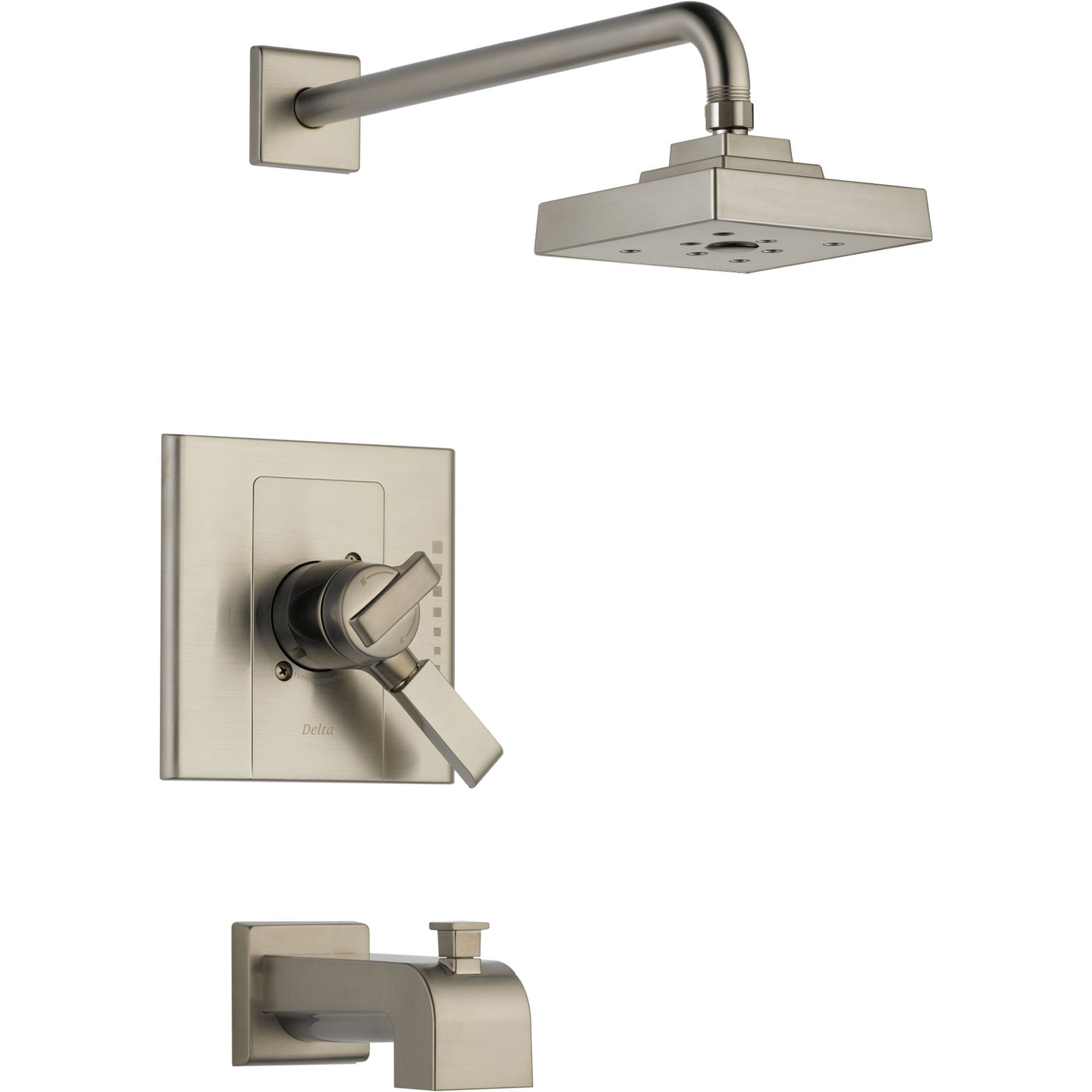 Delta Arzo Stainless Steel Finish Modern Tub and Shower Combo with Valve D406V