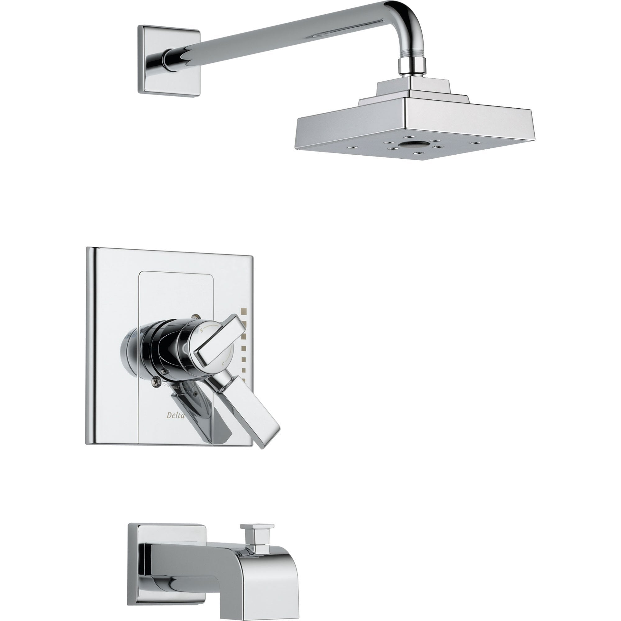 Delta Arzo Chrome Dual Control Modern Tub and Shower Faucet with Valve D405V