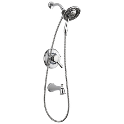 Delta Linden Collection Chrome Dual Temp and Pressure Control Tub and Shower with 2-in-1 Hand Shower / Showerhead Combo Includes Rough Valve without Stops D2291V