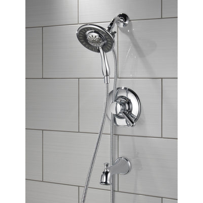 Delta Linden Collection Chrome Dual Temp and Pressure Control Tub and Shower with 2-in-1 Hand Shower / Showerhead Combo Includes Rough Valve with Stops D2292V