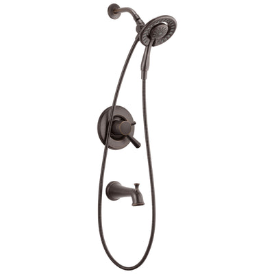 Delta Linden Collection Venetian Bronze Temp and Pressure Control Tub and Shower with 2-in-1 Hand Shower / Showerhead Includes Rough Valve without Stops D2287V