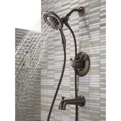 Delta Linden Collection Venetian Bronze Temp and Pressure Control Tub and Shower with 2-in-1 Hand Shower / Showerhead Includes Rough Valve with Stops D2288V
