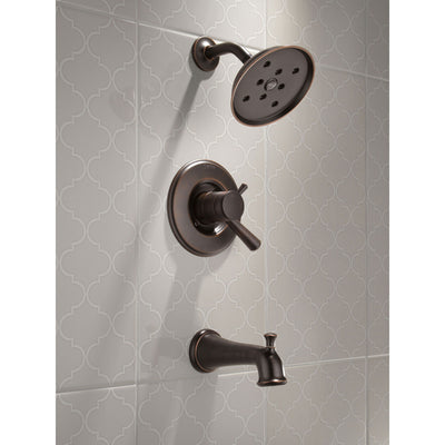 Delta Linden Collection Venetian Bronze Monitor 17 Series H2Okinetic Tub and Shower Combination Faucet Includes Rough Valve without Stops D2289V