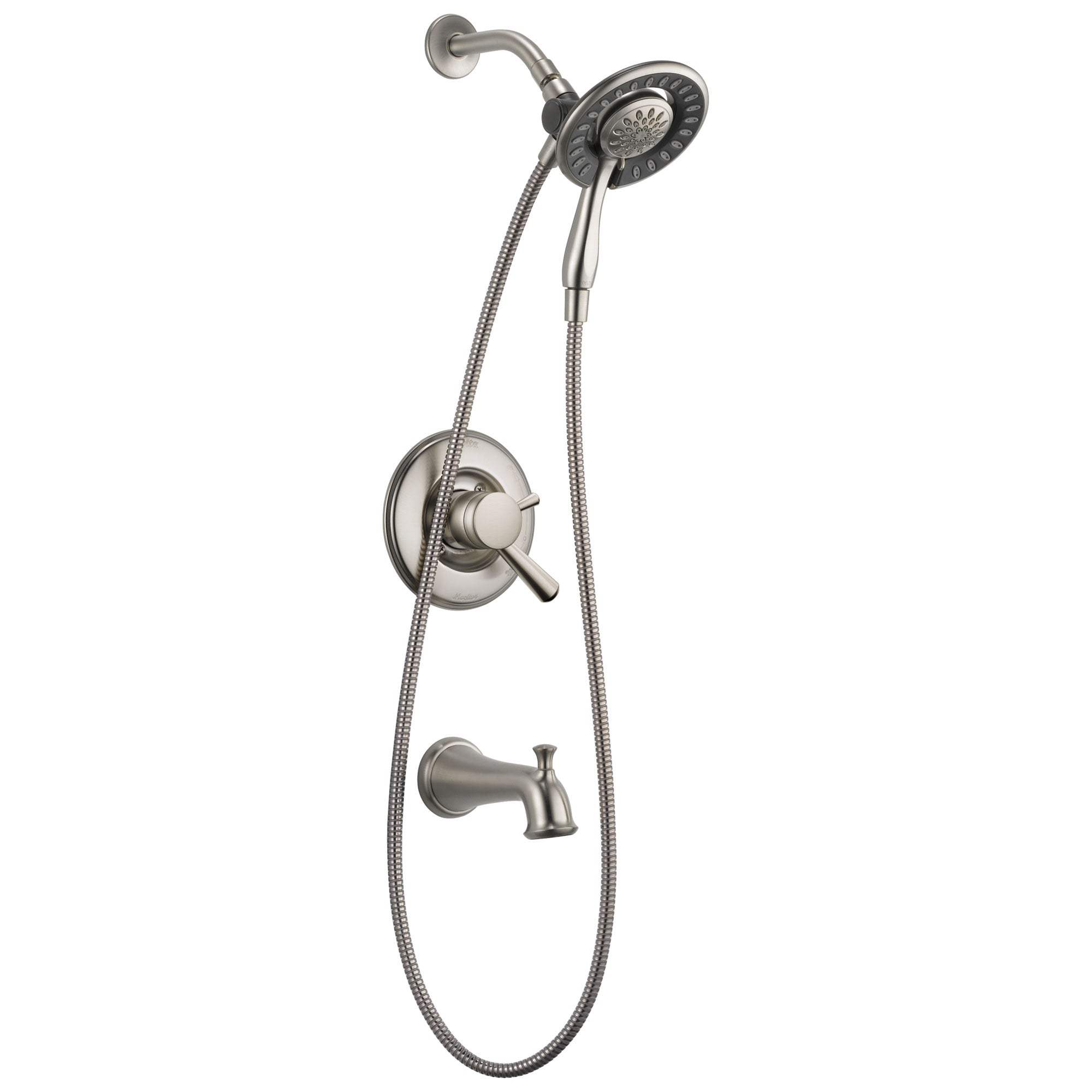 Delta Linden Collection Stainless Steel Finish Dual Control Tub and Shower Faucet with Hand Spray / Showerhead Combo Includes Rough Valve with Stops D2284V