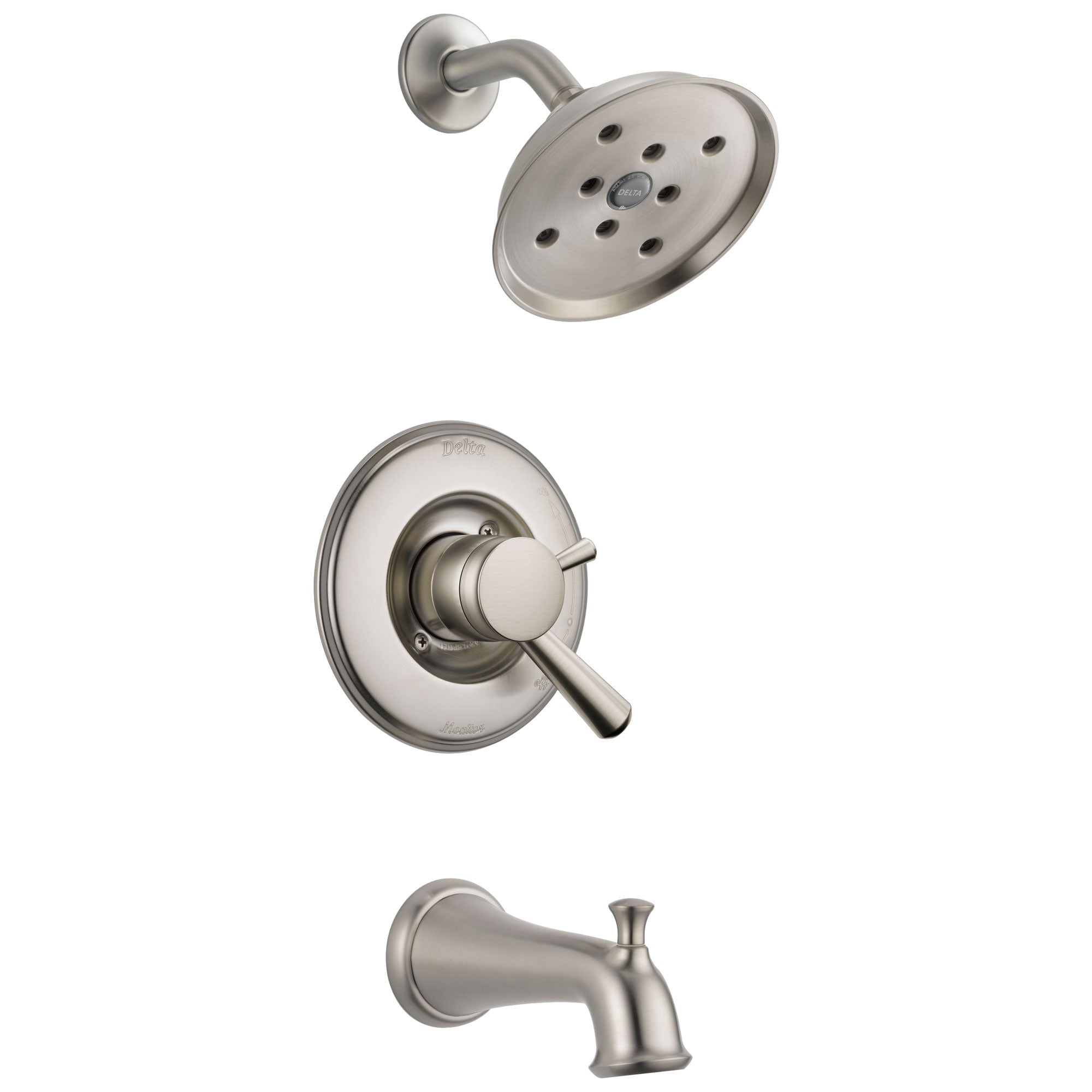 Delta Linden Collection Stainless Steel Finish Monitor 17 H2Okinetic Tub and Shower Combination Faucet Includes Rough Valve without Stops D2285V
