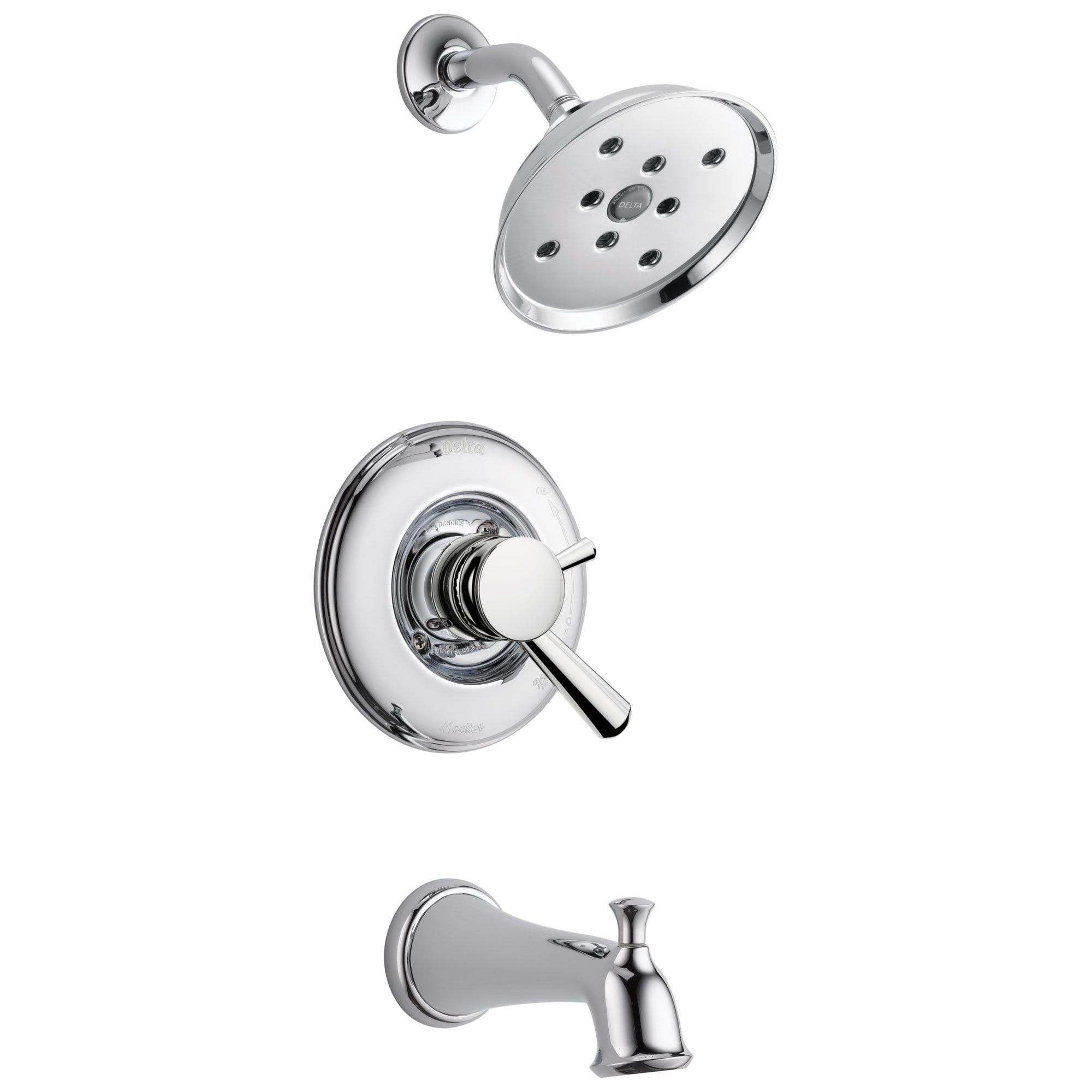 Delta Linden Collection Chrome Finish Monitor 17 Series H2Okinetic Tub and Shower Combination Faucet Includes Rough Valve with Stops D2294V
