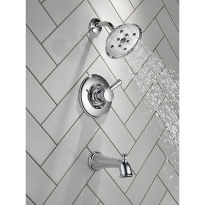 Delta Linden Collection Chrome Finish Monitor 17 Series H2Okinetic Tub and Shower Combination Faucet Includes Rough Valve without Stops D2293V