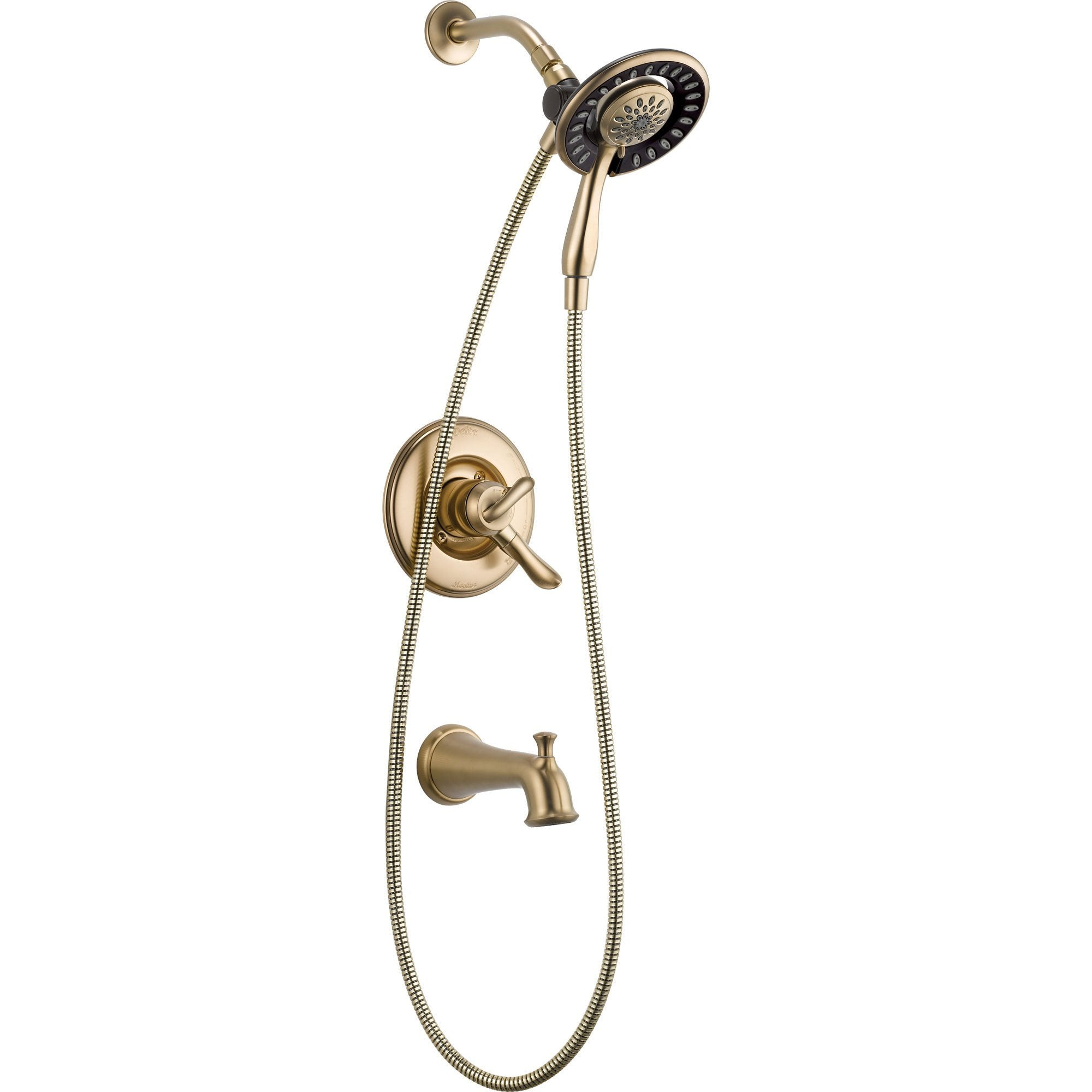 Delta Linden Tub & Shower Champagne Bronze Handheld & Shower Head w/ Valve D967V