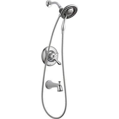 Delta Linden Chrome Tub and Shower Handheld & Shower Head, Includes Valve D968V