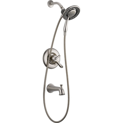 Delta Linden Tub / Shower Stainless Finish Handheld & Shower Head w/ Valve D970V
