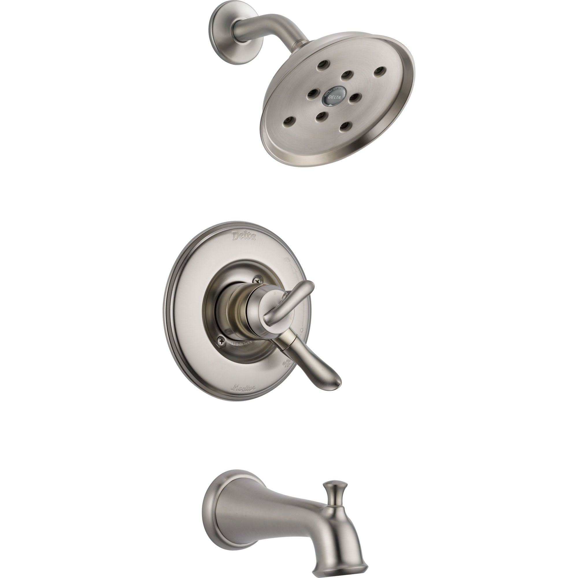 Delta Linden Dual Control Stainless Steel Finish Tub and Shower Trim Kit 555914