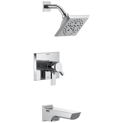 Delta Pivotal Chrome Finish H2Okinetic Tub and Shower Combination Faucet Includes 17 Series Cartridge, Handles, and Valve without Stops D3327V