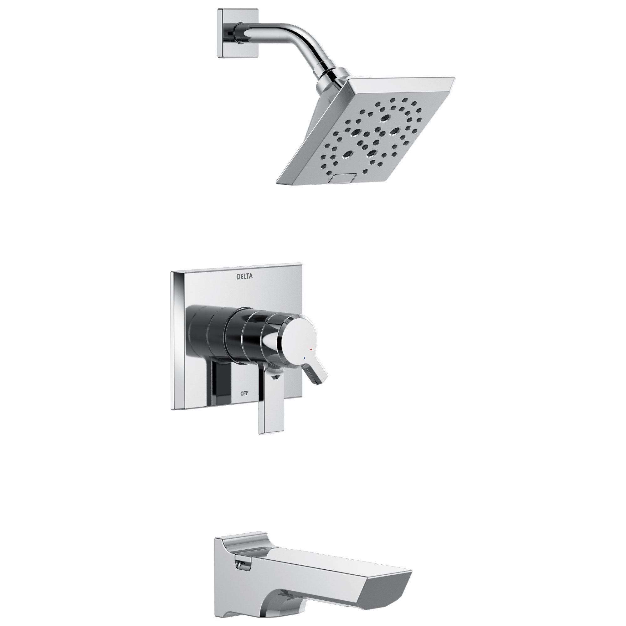 Delta Pivotal Chrome Finish Monitor 17 Series H2Okinetic Tub and Shower Combination Faucet Trim Kit (Requires Valve) DT17499