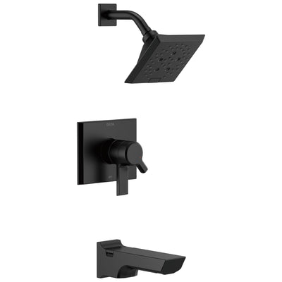 Delta Pivotal Matte Black Finish H2Okinetic Tub and Shower Combination Faucet Includes 17 Series Cartridge, Handles, and Valve with Stops D3326V