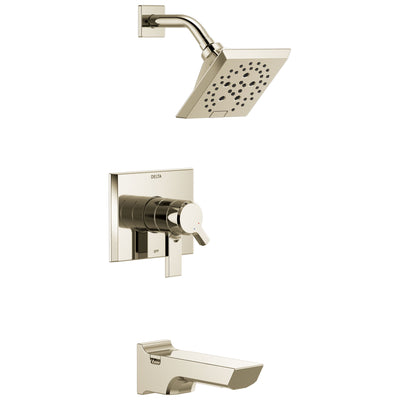 Delta Pivotal Polished Nickel Finish H2Okinetic Tub and Shower Combination Faucet Includes Cartridge, Handles, and Valve without Stops D3323V