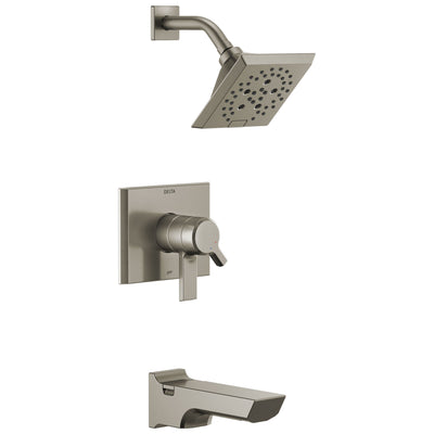 Delta Pivotal Stainless Steel Finish H2Okinetic Tub and Shower Combination Faucet Includes Cartridge, Handles, and Valve without Stops D3321V