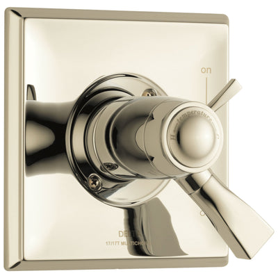 Delta Dryden Collection Polished Nickel Thermostatic Dual Temperature and Pressure Control Handle Valve Only Includes Rough Valve with Stops D2282V