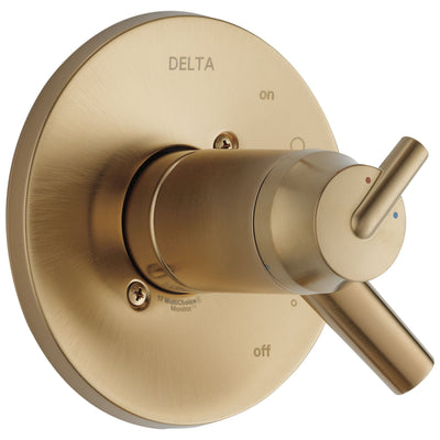 Delta Trinsic Collection Champagne Bronze Thermostatic Dual Temperature and Pressure Control Handle Valve Only Includes Rough Valve without Stops D2275V