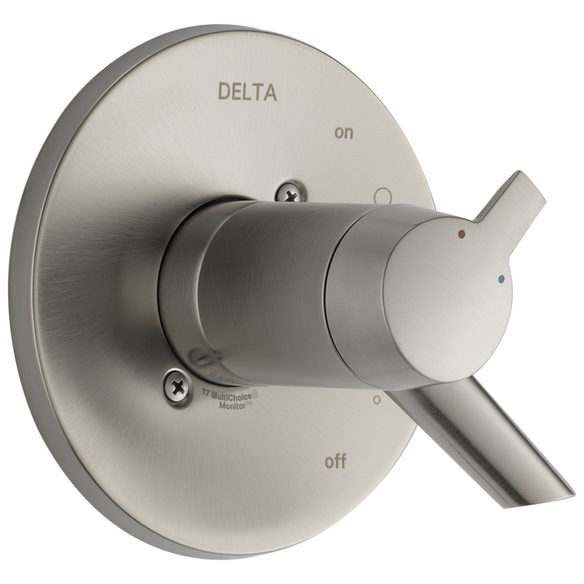 Delta Compel Collection Stainless Steel Finish Thermostatic Dual Temperature and Pressure Control Handle Valve Only Includes Rough Valve with Stops D2268V