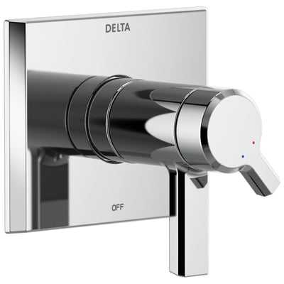 Delta Pivotal Chrome Finish Thermostatic Shower Faucet Dual Handle Control Includes 17T Cartridge, Handles, and Valve without Stops D3307V