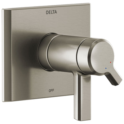 Delta Pivotal Stainless Steel Finish Thermostatic Shower Faucet Dual Handle Control Includes 17T Cartridge, Handles, and Valve with Stops D3302V