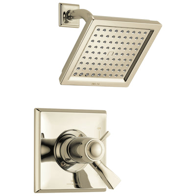 Delta Dryden Polished Nickel Finish Thermostatic Water Efficient Shower only Faucet Includes Handles, 17T Cartridge, and Valve with Stops D3292V