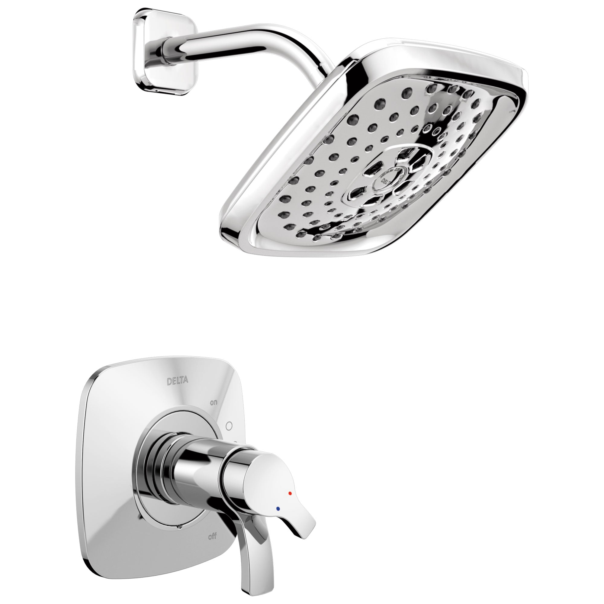 Delta Tesla Collection Chrome TempAssure 17T Series Modern Dual Temp and Pressure Control Shower Faucet Includes Rough-in Valve with Stops D1941V