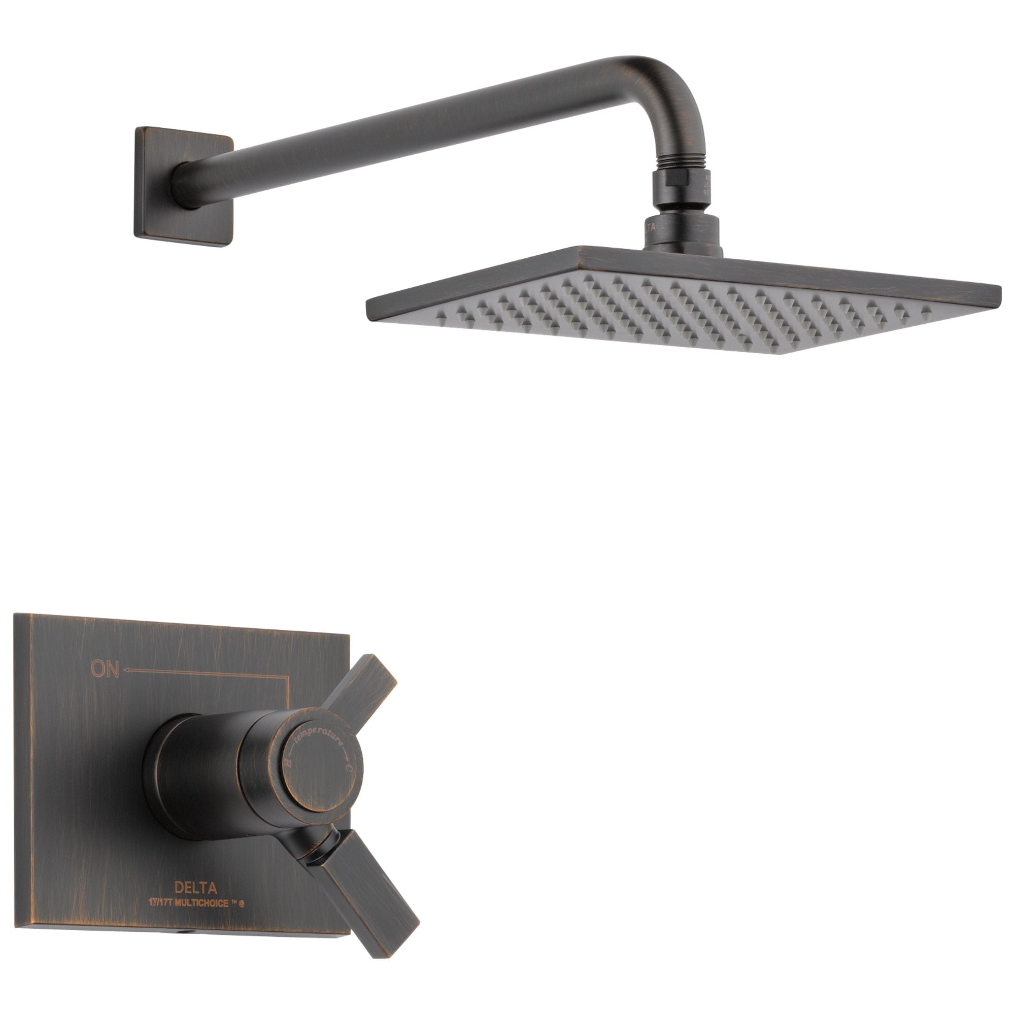 Delta Vero Collection Venetian Bronze 1.75 GPM Water Efficient Modern Thermostatic Dual Control Shower only Faucet Trim (Requires Valve) DT17T253RBWE