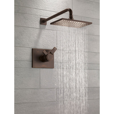 Delta Vero Collection Venetian Bronze 1.75 GPM Water Efficient Modern Thermostatic Dual Control Shower only Faucet Includes Rough-in Valve without Stops D2257V