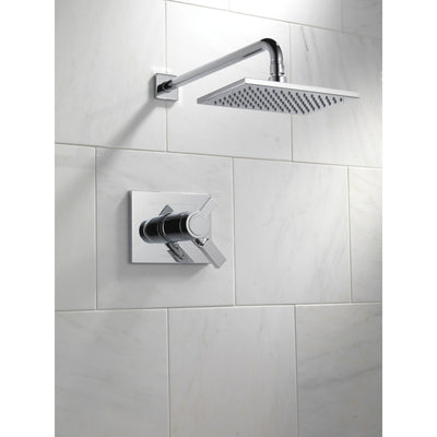 Delta Vero Collection Chrome TempAssure 17T Water Efficient Modern Thermostatic Dual Control Shower only Faucet Includes Rough-in Valve without Stops D2255V