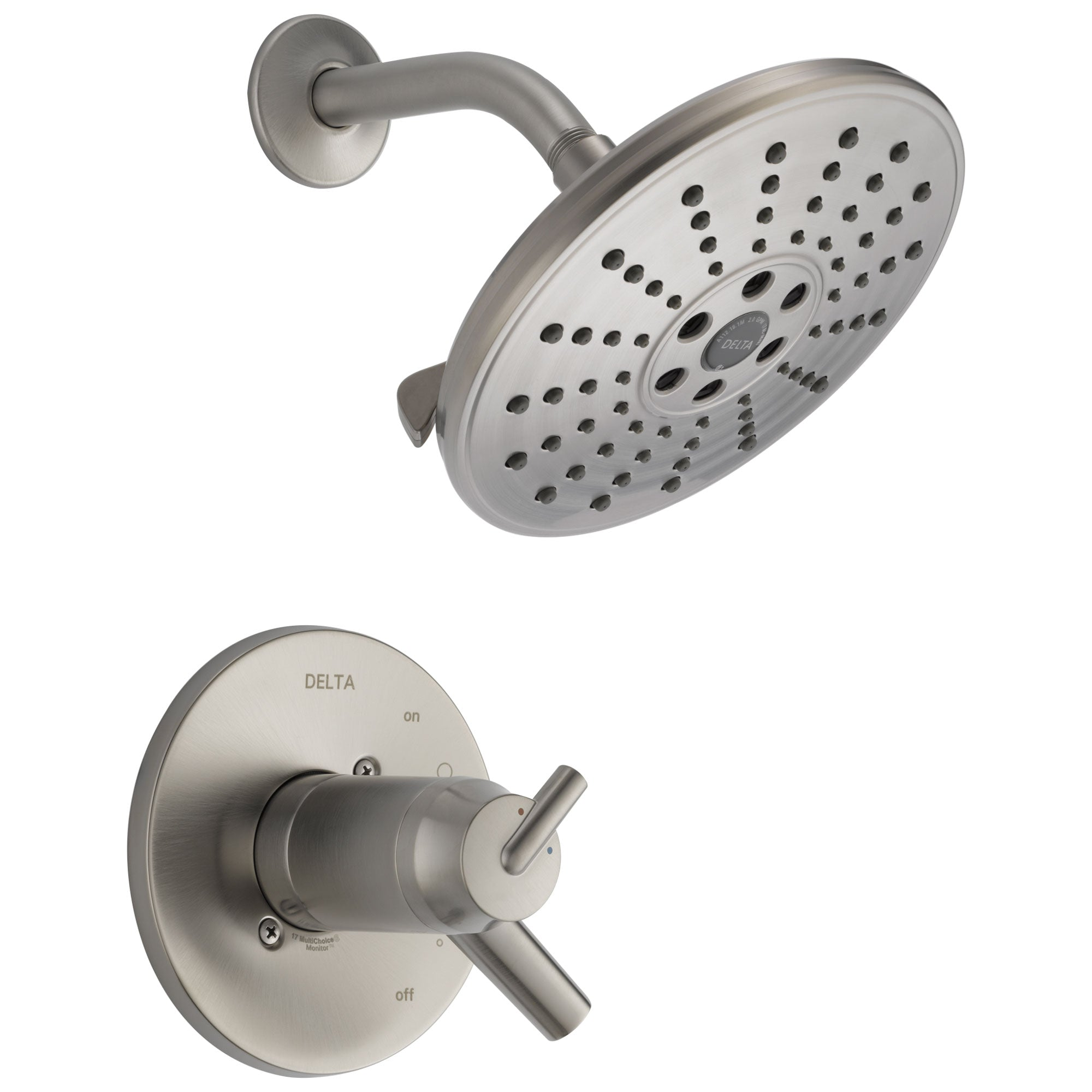 Delta Trinsic Collection Stainless Steel Finish Thermostatic Temperature / Pressure Control Shower Only Faucet Includes Rough-in Valve without Stops D2247V